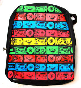 Clover-Black-Kid-Sized-Backpack-Multicolored-Striped-Pattern