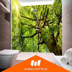 eck duschr ckwand drei platten alu bad dusche wand spring tree ebay. Black Bedroom Furniture Sets. Home Design Ideas