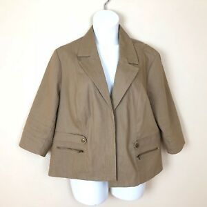 abef2212f34c Dress Barn Woman Brown Khaki Blazer Plus Size 3X Lined Jacket Cotton ...