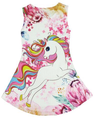 Girls Unicorn Rainbow Flowers Sleeveless Fashion Vest Tunic Top 2 to 14 Years