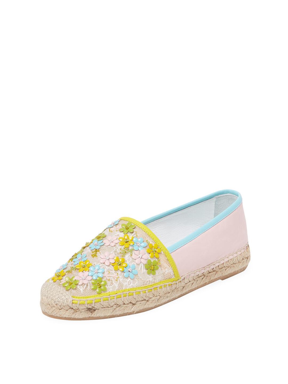 NIB Rene Caovilla Yellow Green Green Green Floral Lace Espadrilles Size 6   36 Auth -  1085 308177
