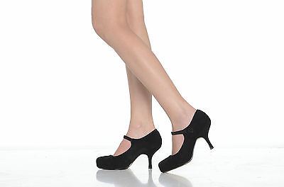 NEW LADIES STRAP MID HEEL CASUAL SMART WORK PUMP COURT SHOES SIZE 3 4 5 6 7 8