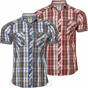 Mens-Check-Shirt-Tokyo-Laundry-1H-3650-Casual-Short-Sleeve-Cotton-S-M-L-XL