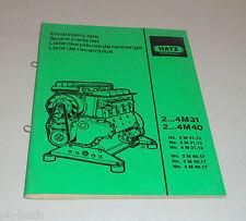 Teilekatalog Hatz Diesel Motor 2...4M 31  / 2... 4M 40 Stand 09/1989