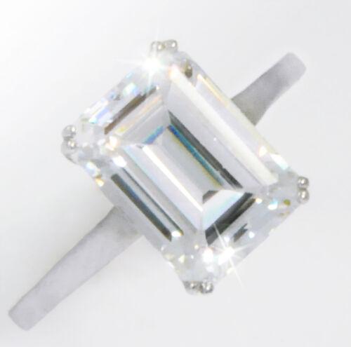 1.5 ct Emerald Ring Vintage Brilliant Top Russian CZ  Moissanite Simulant Size 6