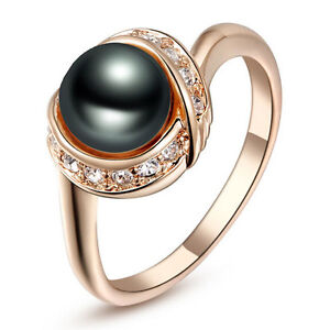 Rose Gold Plate Made with Swarovski Crystal Black Pearl Wedding Ring