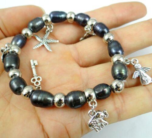 Black freshwater pearl bead Small anim Elastic bracelet Fashion Jewelry Women A9