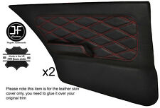 RED DIAMOND STITCH 2X FULL REAR DOOR CARDS LEATHER COVERS FITS BMW E30 SALOON