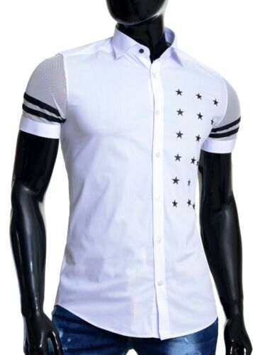 Mondo Men/'s Short Sleeve Shirt Cotton Slim Fit White Printed Stars Mesh Sleeves