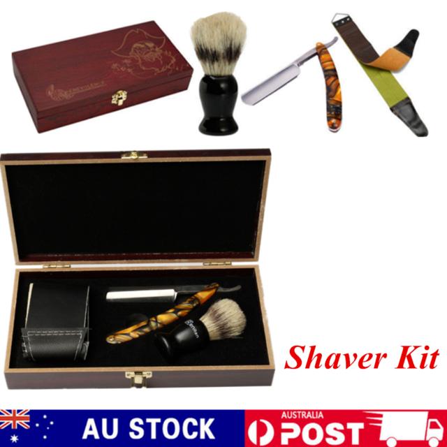 Shaver Kit Cut Throat Straight Razor Shaving Brush Leather Strop Wood Box Gift