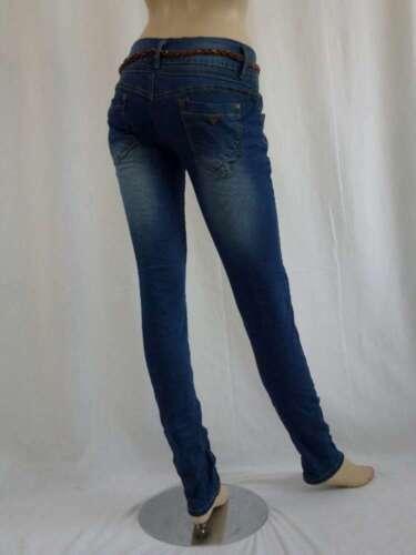 Monday Premium Jeans Stretch Röhre blau blue used XS S M L XL mit Flechtgürtel