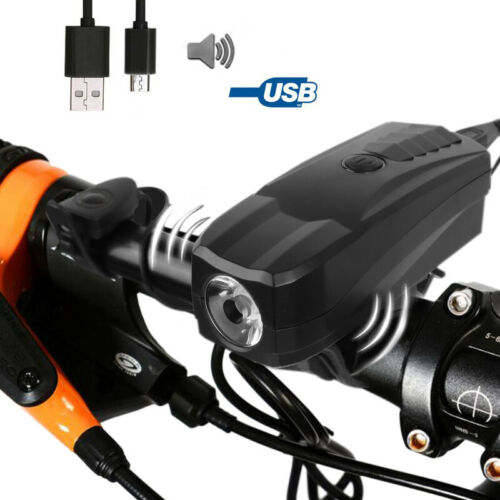 USB Rechargeable Bike LED Front Light Bycicle Lamp Alram Horn Headlights 2 in 1