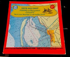 Details about SOUTH GULF COAST FISHING Navigational Charts Maps Vintage Ms  To Fl Paper Bookmap