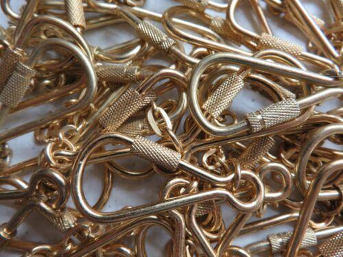 20 OR 50 X HEAVY DUTY SCREW LOCK CARABINER CLIP 42MM KEYCHAIN KEY RING GOLD 10