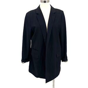 Chico's Blazer Open Front Black Jacket Animal Print Lining Women's Size 2 L 12