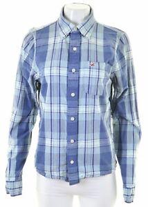 HOLLISTER-Womens-Shirt-Size-14-Medium-Blue-Check-Cotton-HF09