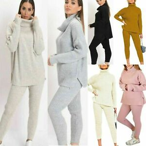 Womens-Ladies-Knitted-Chunky-High-Roll-Neck-Top-Bottom-Lounge-Wear-Tracksuit-Set