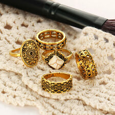Fashion Jewelry Women's & Girls Five Pcs Finger Rings Set Yellow Gold Plated