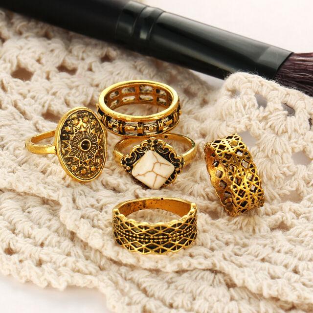 Fashion Jewelry Women's & Girls Five Pcs Finger Rings Set Yellow Gold Plated