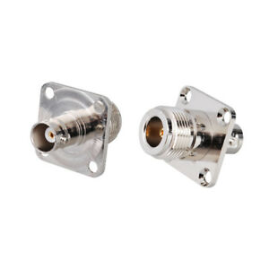 2-Pack-BNC-Female-Flange-Mount-to-N-Female-Connector-Adapter-for-Amateur-Radio