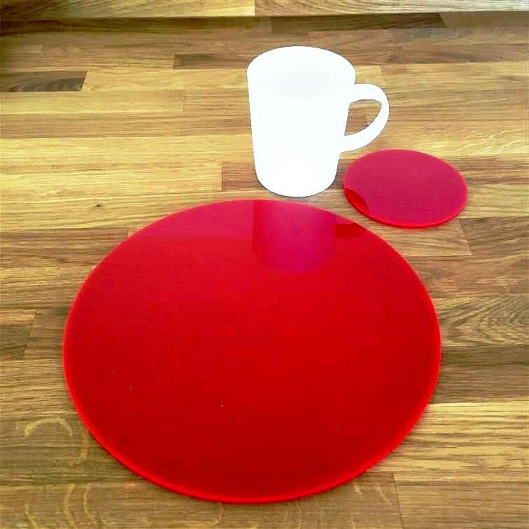 Round Placemat and Coaster Set - rot
