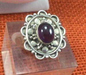 Vintage-Sterling-Ring-925-Silver-Amethyst-Gemstone-amp-Crystal-Rhinestone-Band-SZ8