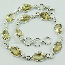 925 Solid Sterling Silver CITRINE Gemstones Lovely Bracelet Best Friendship Gift