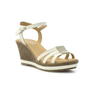 f60040145d63f Image is loading Womens-Wedge-Sandal-Diamante-Sandal-in-White-by-