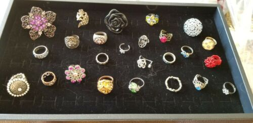Awesome Lot of 25 Vintage Flower  Cocktail Rings