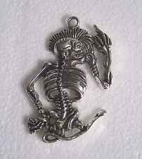 Big Tibetan Silver Skeleton Pendant for Necklace Thong Jewellery Making