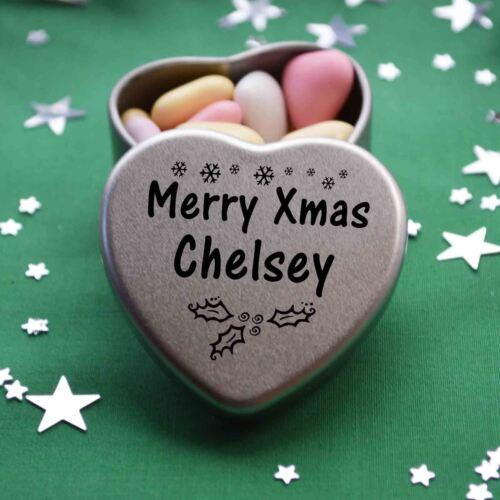 Merry Xmas Chelsey Mini Heart Tin Gift Present Happy Christmas Stocking Filler