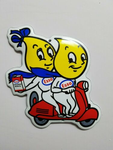 CLASSIC ESSO DROPS ON MOPED SIGN SIZE = 5x4,5 INCH PORCELAIN ENAMEL SCHILD