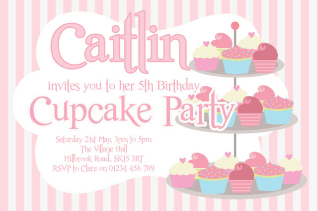 10 personalised cupcake baking tea party invitations girls