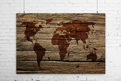 Superieur Rustic World Map On Barn Wood Art Print Wall Poster   Sepia   Giclee, | EBay