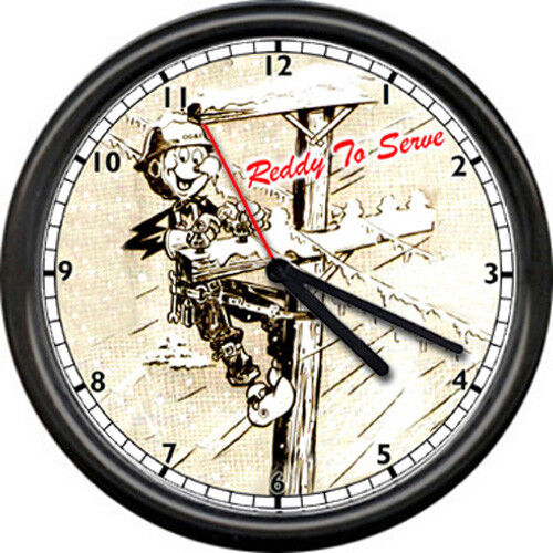 Reddy Kilowatt High Voltage Lineman Telephone Pole Electrician Sign Wall Clock
