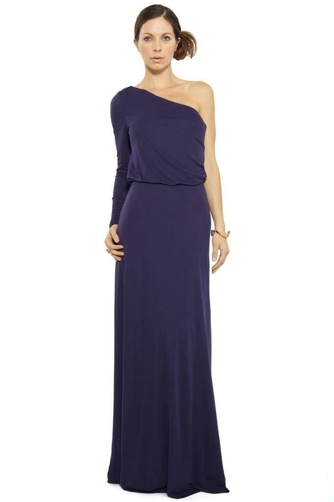 Halston Heritage Long Sleeve One Shoulder Long Dress Midnight Maxi Navy Purple