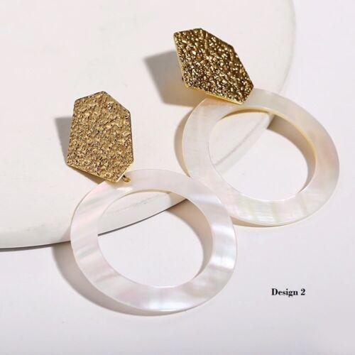 Gold vergoldet Ohrringe Ohrhänger Creolen Natur Muschel Damen Boho Gelbgold