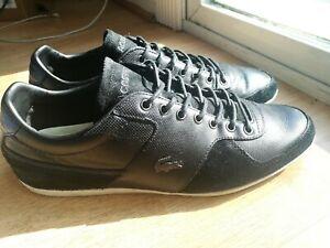 LACOSTE-Men-039-s-Taloire-15-SRM-Black-On-Black-Leather-Suede-Sneakers-Shoes-Sz-10