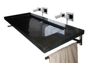 Waschbecken Doppelwaschtisch Aus Granit Bern 130x55cm Schwarz