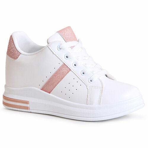 Damen Keil Sneaker Hidden Wedges Plateau Turnschuhe Keilabsatz Glitzer
