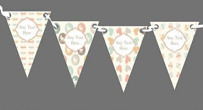 Neutral Pram Bows Personalised Baby Shower Bunting
