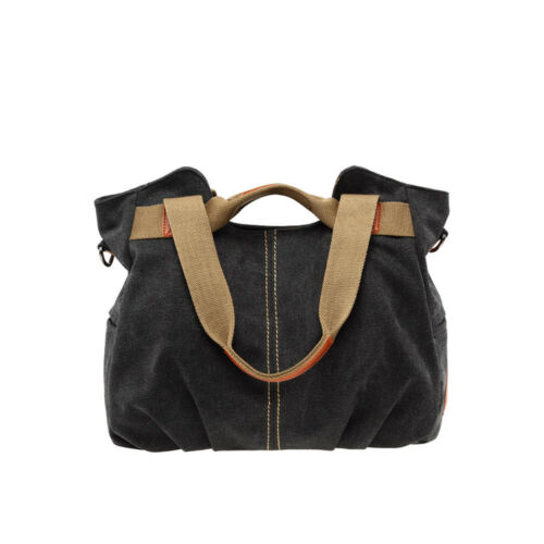 Damen Vintage Tasche Leinwand Große Handtasche Schulter Tote Tasche GeldbörsenEU