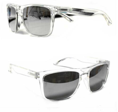 Damen Herren Sonnenbrille Transparent Groß Rechteckig Verspiegelt Silber T20