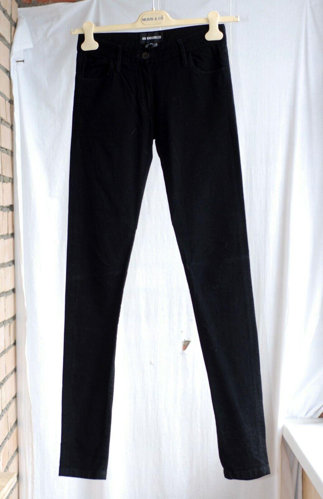 600   ANN DEMEULEMEESTER NOIR Slim Skinny Pantalon Jeans 34 XS 25-26