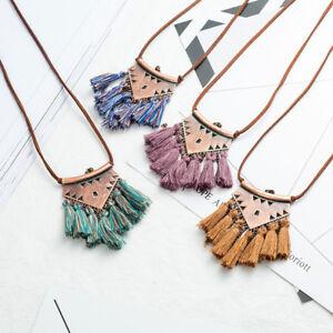 Women-Boho-Long-Tassel-Metal-Triangle-Pendant-Necklace-Sweater-Leather-Chain-NEW
