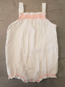 a88b968b6fe3 Details about Baby girls Next summer romper in white with pink smocking  3-6months vgc.
