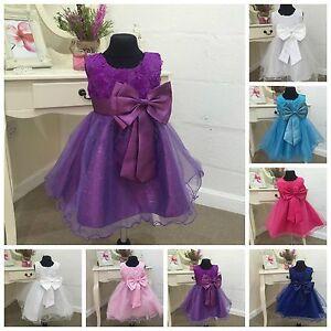 43de16a32c3 Image is loading Cadbury-Purple-Flower-Girl-Dress-Formal-Christening-Baby-