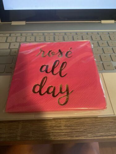 Rose all day Pink Beverage Napkins-New Pack Of 16