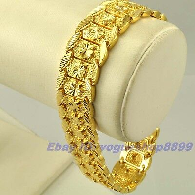 """8.9""""17mm45g REAL DIGNIFIED 18K YELLOW GOLD GP BRACELET MEN SOLID FILL GEP CHAIN"""