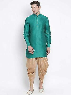Kurta Wedding Pajama Set for Men Long Sleeve Button Down Indian Dress Blue